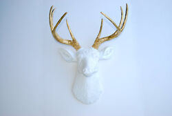 Faux White Deer Head -Metallic Gold Antlers Wall Mount Decor