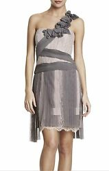 NEW BCBGMAXAZRIA RUNWAY PLEATED CONTRAST LACE DRESS QHS6L372AM550 SIZE 12