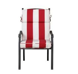 Outdoor Patio Dining Chair Cushion Seat Back Replacement Red White Wide Stripe