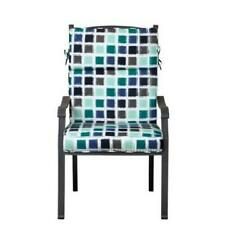 Outdoor Patio Dining Chair Cushion Seat Back Replacement Blue Gray Geometric