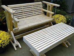 4ft Handcrafted Southern Style Glider SwingCoffee Table Outdoor Patio Furniture