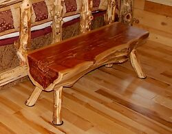 4 ft Log Bench Rustic Red Cedar Hancrafted Log Furniture - BEST PRICES ANYWHERE!