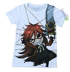 **Legit** Black Butler Grell With Chainsaw Authentic Junior Anime T-Shirt #59666