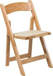 100 PACK Natural Wood Folding Chair with Beige Vinyl Padded Seat - Wedding Chair