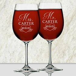 Mr and Mrs Personalized Wine Glasses Set of 2 $29.99