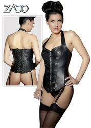 Corset Black Leather With Double Lace Lingerie Women Sexy Leather