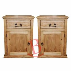 Two Econo One Drawer One Door Nightstands Solid Wood Western Lodge Cabin Bedside