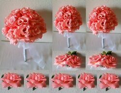 Coral Reef Peach Rose Bridal Wedding Bouquet Package