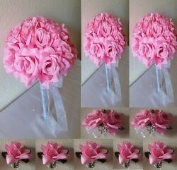 Pink Rose Bridal Wedding Bouquet Package