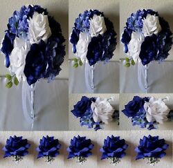 Royal Blue White Rose Hydrangea Bridal Wedding Bouquet Package