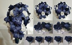 Navy Blue White Rose Tiger Lily Cascading Bridal Wedding Bouquet Package