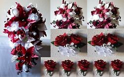 Burgundy White Rose Tiger Lily Cascading Bridal Wedding Bouquet Package