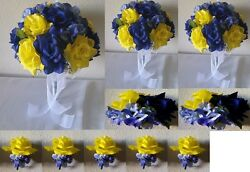 Royal Blue Yellow Rose Bridal Wedding Bouquet Package