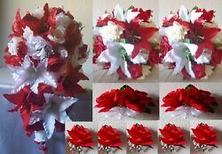 Red White Ivory Rose Tiger Lily Cascading Bridal Wedding Bouquet Package