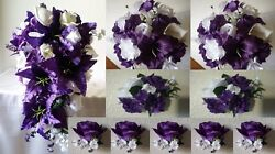 Purple Ivory White Rose Tiger Lily Cascading Bridal Wedding Bouquet Package