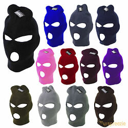 Ski Mask Beanie 3 Hole Warm Face Mask Winter Plain Colors Knitted Cap Hat Unisex $6.99