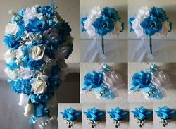 Turquoise White Ivory Rose Hydrangea Cascading Bridal Wedding Bouquet Package