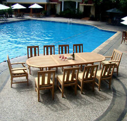 Santa Monica Grade-A Teak 9pc Dining 117 Oval Table 8 Chair Set Patio Outdoor NW