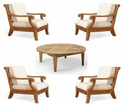 Giva Grade-A Teak Wood 5pc Outdoor Garden Patio Sofa Lounge Chair Coffee Tbl Set
