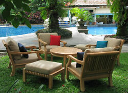 Giva Grade-A Teak Wood 7 pc Outdoor Garden Patio Sofa Lounge Chair Set New