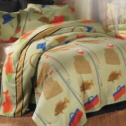 Queen King Fishing Retreat Lightweight Lodge Fleece Blanket Set Cabin Decor