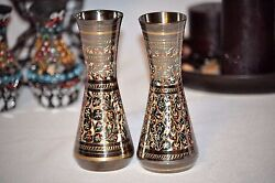 Antique decorative brass vase pair Primitive Folk Art - Handcrafted- USA Seller