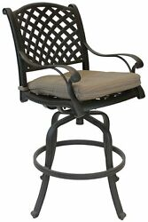Nassau Outdoor Patio 4 5 or 6 Swivel Bar Stools Dark Bronze Cast Aluminum