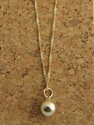 Real 14Kt Yellow Gold BALL PENDANT  Necklace  & Solid 14k gold ROPE 18inch Chain