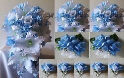 Light Blue White Rose Tiger Lily Cascading Bridal Wedding Bouquet Package
