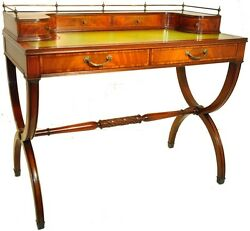 Gorgeous Regency Style Mahogany Leather Top Cerule Base Desk c. 1940's