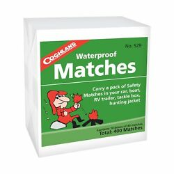 Coghlan's Waterproof Matches 400-Count Wooden Fire Starters 10 Boxes wStrikers