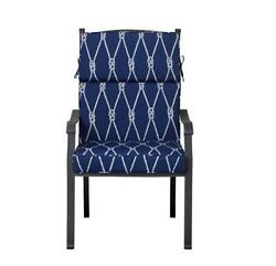 Outdoor Patio Dining Chair Cushion Seat Back Replacement Nautical Blue Knots