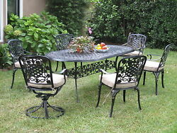 Cast Aluminum Outdoor Patio Furnitures 7 Piece Dining Set W 2 Swivel Arm Chairs
