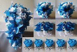 Malibu Blue White Rose Tiger Lily Cascading Bridal Wedding Bouquet Package