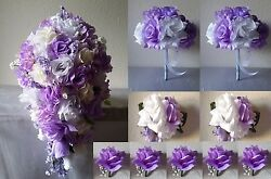 Lavender Ivory White Rose Hydrangea Cascading Bridal Wedding Bouquet Package