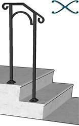 Iron X Handrail Arch #1 RAILING Rail Fits 1 or 2 Steps