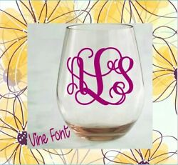 Monogram Vinyl Decal for Your Wine Glass Personalized Initials Wedding Gift 2