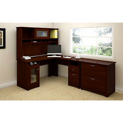 Executive L Shaped Desk Hutch File Cabinet Space Saving Cabinet Home Room Office