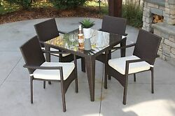 5PC Baker Outdoor All Weather Wicker Rattan Table Patio Set Furniture Dining USA
