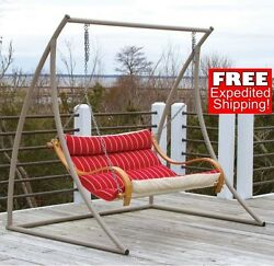 Hammock Swing comfortable Chair With Oak Frame Outdoor Yard Patio Furniture