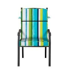 Outdoor Patio Dining Chair Cushion Seat Back Replacement Blue Green White Stripe