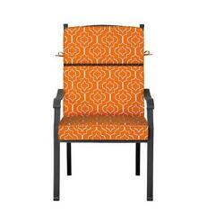 Outdoor Patio Dining Chair Cushion Seat Back Replacement Orange Moroccan Tile
