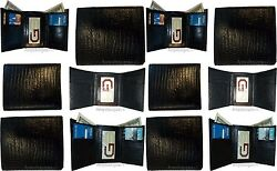 Lot of 12 Italian Style Lizard skin Printed Leather Man's Black Trifold wallet