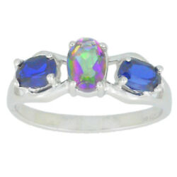 2 Ct Mystic Topaz & Blue Sapphire Oval Ring .925 Sterling Silver