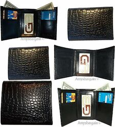 Lot of 6 Italian Style Crocodile Printed Leather Man's Black Trifold wallet BNWT