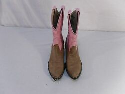 Old West Women#x27;s Size 6.5 Boots Pink and Tan Showing some Wear and Tear 6096 $17.99