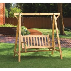 Rustic Garden Swing Perfect for Patio or Porch comfy bench roomy enough for 2