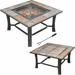 Outdoor Fire Pit Patio Table Backyard Fireplace Wood Burning Heater Firepit Deck