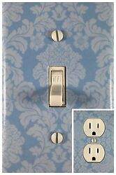 Blue Damask Single Toggle Decorative Light Switch Cover Outlet Switch Wall Plate