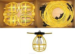 50 ft. Temporary Lighting String Work Light Commercial Heavy Duty Bulb Cage 142 $44.99
